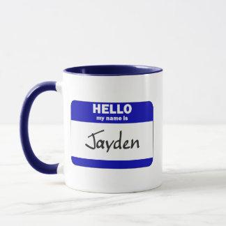 Caneca Olá! meu nome é Jayden (azul)