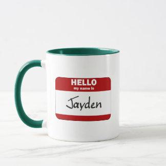 Caneca Olá! meu nome é Jayden (vermelho)