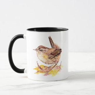 Caneca Pássaro bonito da carriça da aguarela, natureza,