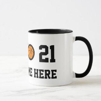 Caneca   Personalizable do basquetebol do número