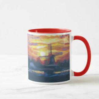 Caneca Pintura do moinho de vento do nascer do sol