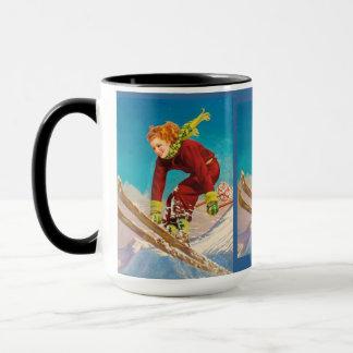 Caneca Poster do esqui do vintage, esquiador da descida