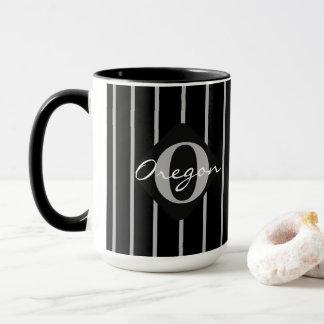 Caneca Preto & cinzas listra o café Caneca-Oregon