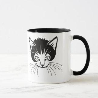 Caneca preto e branco do gato