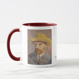 Caneca Retrato de auto com um chapéu de palha por Vincent
