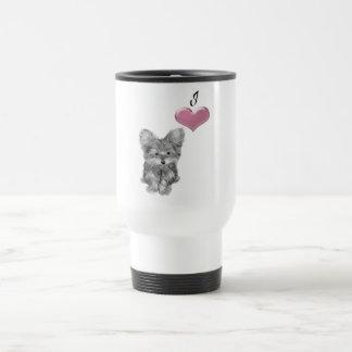 Caneca Térmica Ame a arte bonito do cão de Yorkie com coração 3D