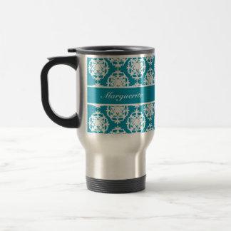 Caneca Térmica Azul personalizado de Bondi com damasco branco