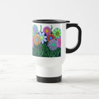 Caneca Térmica Copo feliz brilhante do plástico da flor das cores