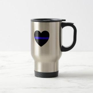 Caneca Térmica Coração da polícia com Blue Line fino