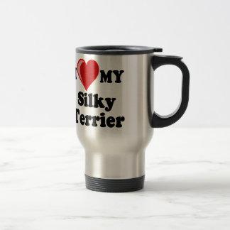 Caneca Térmica Eu amo (coração) meu cão de Terrier de seda