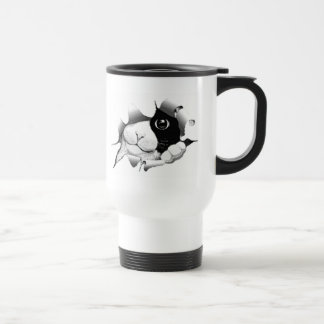 Caneca Térmica Gato preto e branco curioso do gatinho