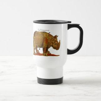 Caneca Térmica Impressão do Woodcut do rinoceronte do vintage - o