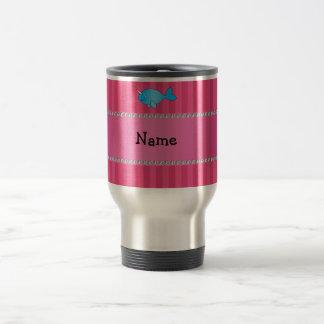 Caneca Térmica Listras cor-de-rosa narwhal azuis conhecidas