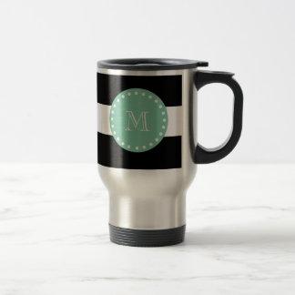 Caneca Térmica Listras pretas teste padrão, monograma verde da