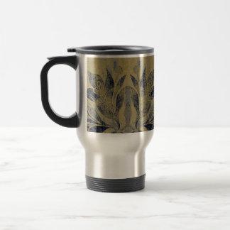 Caneca Térmica Marinho & Taupe afligidos Grunge da flor de Lotus