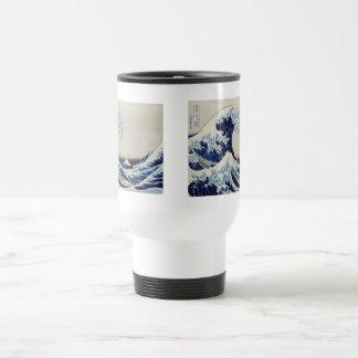 Caneca Térmica Pintura do impressão da onda de Hokusai grande