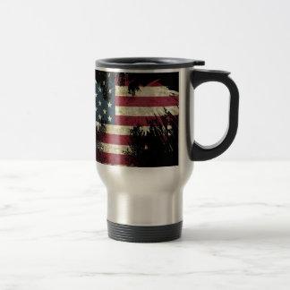 Caneca Térmica US/USA, bandeira TRISTE no fundo preto