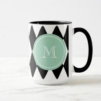 Caneca Teste padrão branco preto do Harlequin, monograma