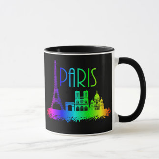 Caneca Torre Eiffel dos monumentos do arco-íris de Paris