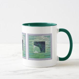 Caneca verde do azulejo do oceano