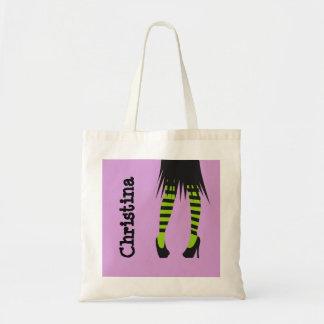 Caneleiras à moda o Dia das Bruxas da listra da fo Sacola Tote Budget