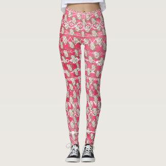 Caneleiras astecas florais do teste padrão do rosa legging