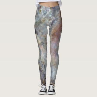 Caneleiras de mármore do espaço leggings