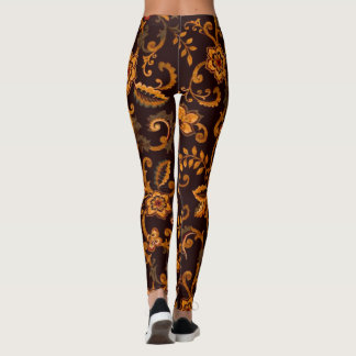 Caneleiras florais do chocolate leggings