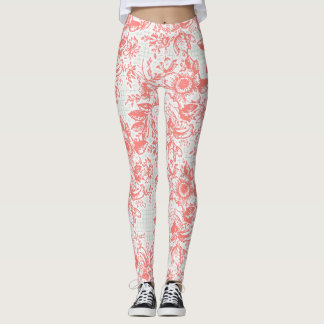 Caneleiras florais do vintage Pinkish Leggings