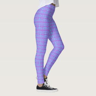 Caneleiras geométricas roxas e azuis leggings