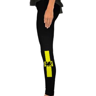 Caneleiras patrióticas do preto do amarelo do drag leggings