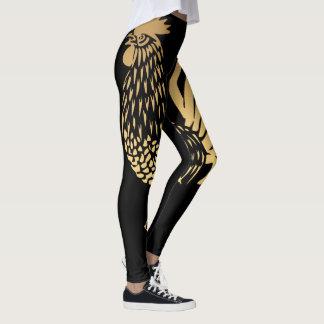 Caneleiras pretas do ano 2017 dourados do galo leggings