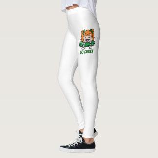 Caneleiras verdes do cheerleader leggings