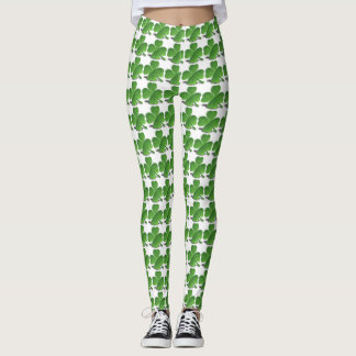 Caneleiras verdes e brancas do trevo leggings