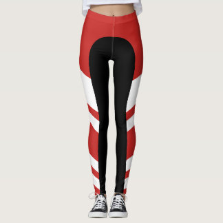 Caneleiras vermelhas/brancas/pretas da banda leggings