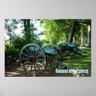 Canhões do parque militar nacional de Gettysburg Poster