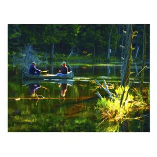 Canoeing no cartão do Adirondacks