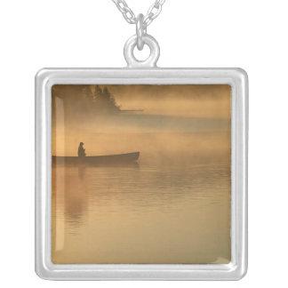canoeist, parque de Algonguin, Ontário, Canadá Colar Banhado A Prata