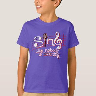 Cante como ninguém o T de escuta do logotipo do Tshirt