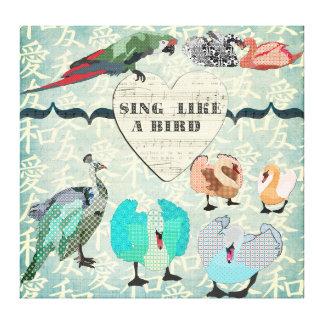 Cante como uma arte das canvas do pássaro impressão de canvas envolvida