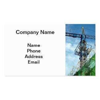 Canteiro de obras do Highrise com guindaste azul Cartão De Visita