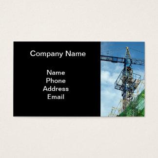 Canteiro de obras do Highrise com guindaste azul Cartão De Visitas