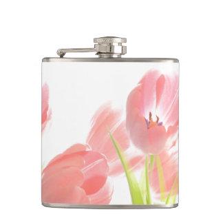 Cantil Flor da tulipa do rosa da garrafa da bebida retro