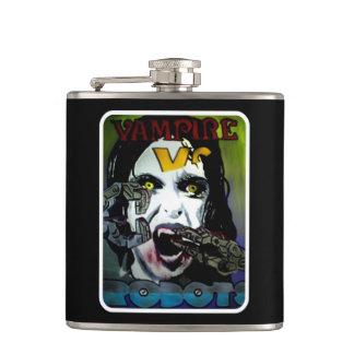 """Cantil """"Vampiros contra robôs"""" em uma garrafa de aço"""