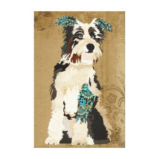 Canvas azuis florais do cão do vintage impressão em tela