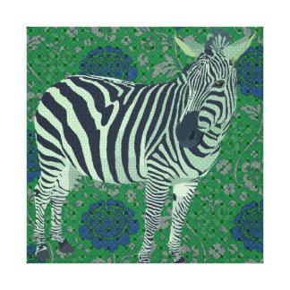 Canvas azuis verdes do vintage da zebra de arte impressão de canvas esticada