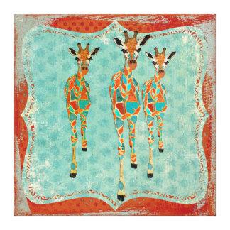 Canvas Azure & ambarinas do vintage dos girafas Impressão Em Tela