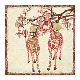Canvas cor-de-rosa bonito da flor de cerejeira dos impressão de canvas envolvida
