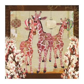 Canvas cor-de-rosa do jubileu da cereja dos girafa impressão em tela