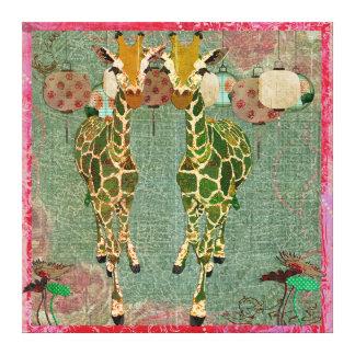 Canvas crepusculares cor-de-rosa dos girafas impressão em tela